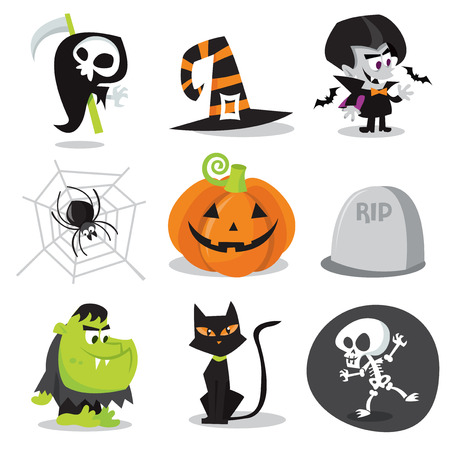 A cartoon vector illustration of halloween characters and objects. Vector