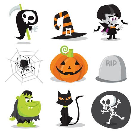 calabaza caricatura: Una ilustración vectorial de dibujos animados de personajes y objetos de Halloween.