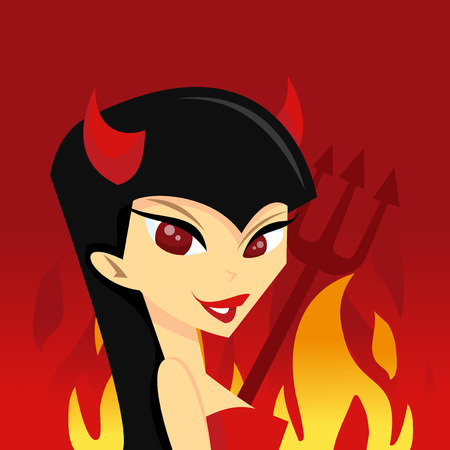 hell: A cartoon vector illustration of a she devil in hell.