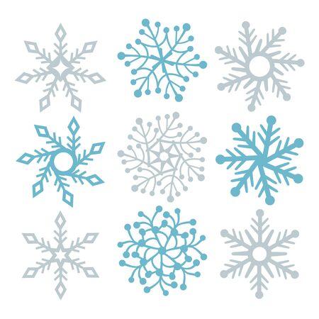 public celebratory event: A vector illustration of snowflakes filigree set.