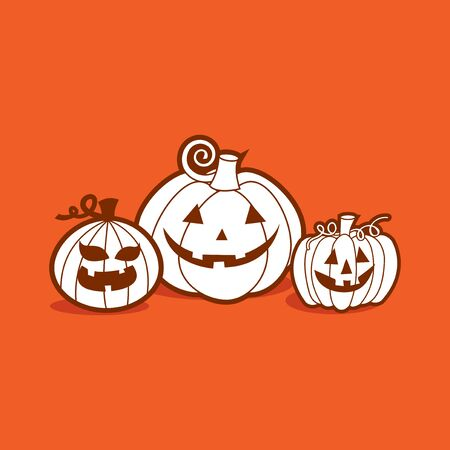 A vector illustration of halloween pumpkins in line art style.