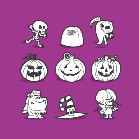 clipart frankenstein: A vector illustration of halloween clip art in cool line art style. Illustration