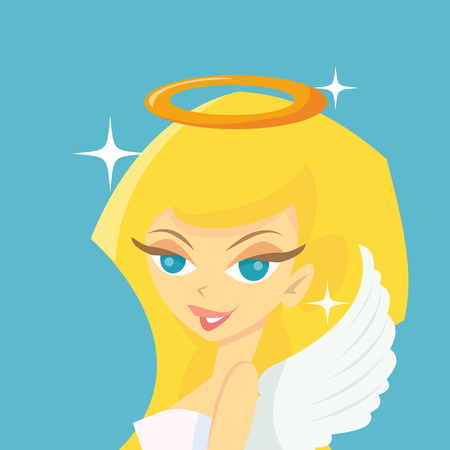 halo angel: A cartoon vector illustration of a sweet blonde angel with wings and halo.
