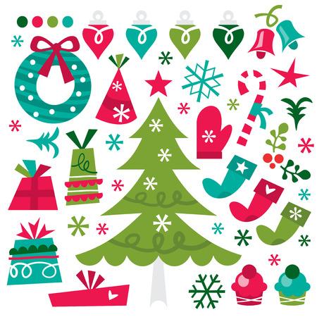 A whimsicalretro vector illustration of christmas design elements. Vector