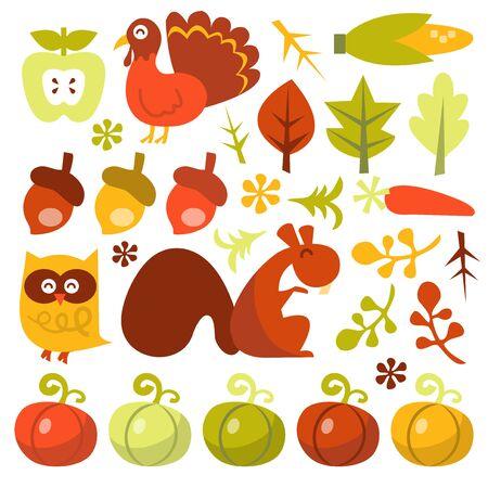 elote caricatura: Una ilustración vectorial retro caprichoso conjunto de personajes y elementos temáticos de la cosecha.