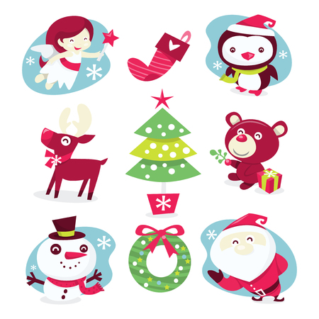 A whimsical and fun vector illustration set of christmas characters and decorations. Vector