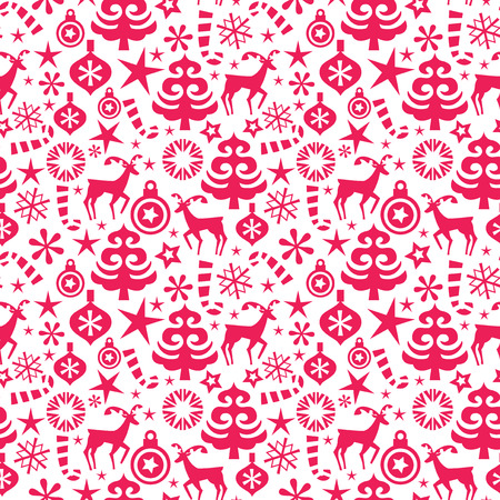 whimsical pattern: A vector illustration of a red whimsical christmas seamless pattern background.