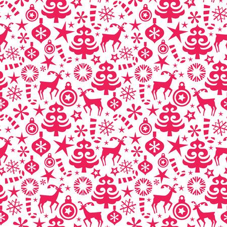 estrella caricatura: Una ilustración vectorial de una caprichosa navidad de fondo sin fisuras patrón de color rojo.