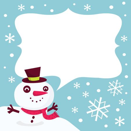 frosty: A vector illustration of a cute and whimsical frosty the snowman and his blank speech bubble.