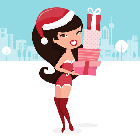public celebratory event: A vector illustration of a cute retro pinup santarina bearing lots of gifts. Illustration