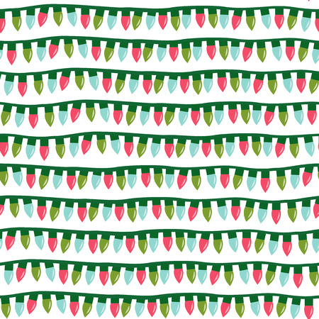 A vector illustration of christmas lights seamless pattern background. Illustration