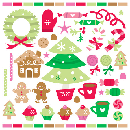A vector illustration set of retro whimsical christmas treats, sweets and decorations.