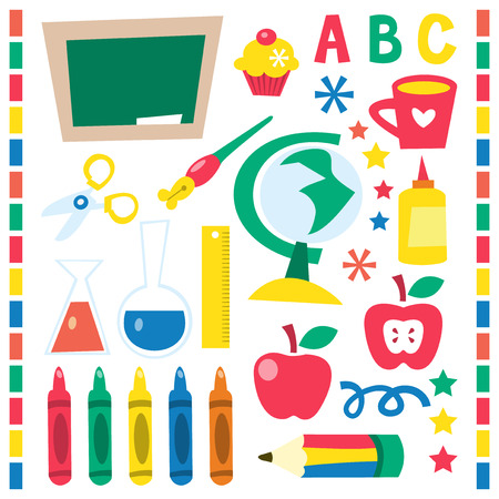 blackboard cartoon: A vector illustration set of whimsical retro back to school design elements.