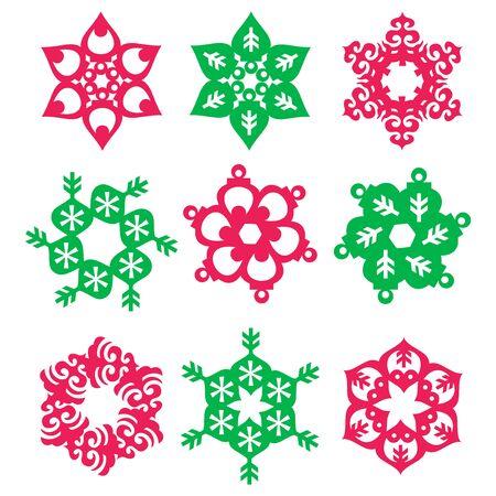 A vector illustration set of nine christmas ornament rosette. Illustration