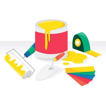 worktool: A vector illustration of colorful renovationdecorating theme. Illustration