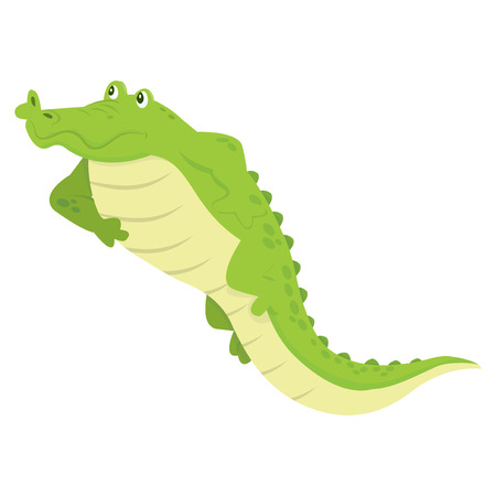 lying down: A cartoon vector illustration of a crocodile lying down and relaxing.