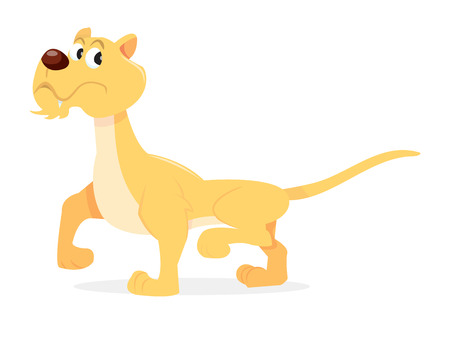 stepping: A vector illustration of a cartoon lioness stepping away.