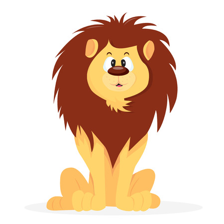 wildcat: A cartoon vector illustration of a friendly lion sitting and forward facing.