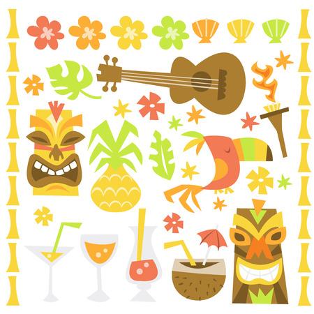 A whimsical retro illustration of hawaiian luau tiki party design elements.