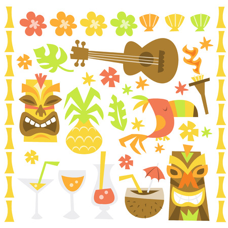 tiki party: A whimsical retro illustration of hawaiian luau tiki party design elements.