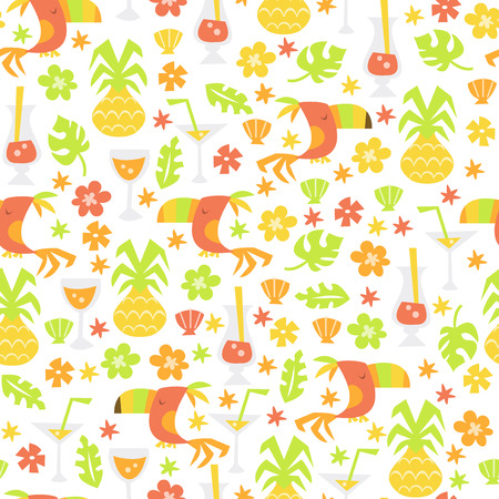 A vector illustration of a fun whimsical tropical luau theme seamless pattern background.