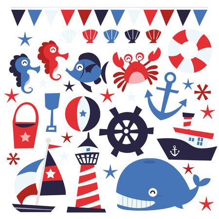 whimsical: A vector illustration of whimsical nautical theme design elements.
