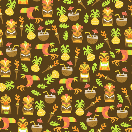 A vector illustration of tiki luau seamless pattern background.