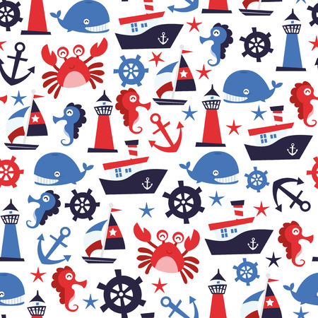 cartoon whale: A vector illustration of nautical theme seamless pattern background.