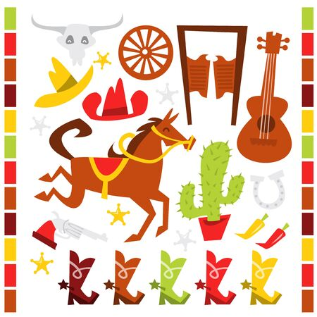western theme: A vector illustration set of whimsical wild western theme clip art.