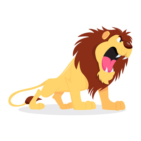 Ilustracja kreskówka wektor ryku lwa zacięta. Ilustracje wektorowe