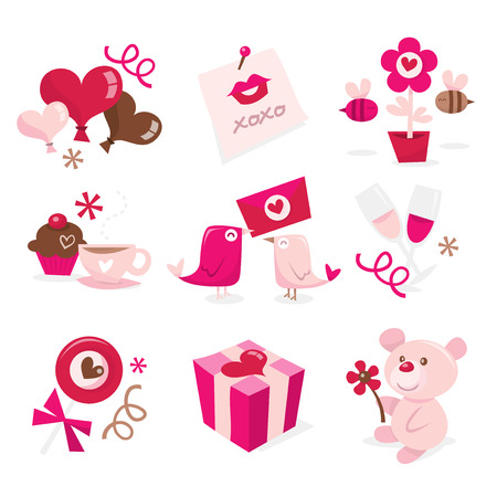 champagne flute: A vector illustration set of valentines day theme.