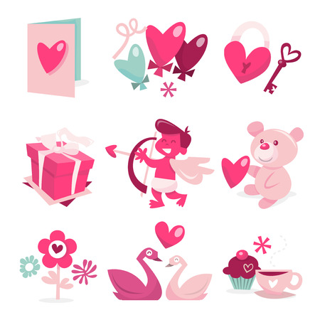 A sweet vector illustration of valentine theme clip arts. Vector