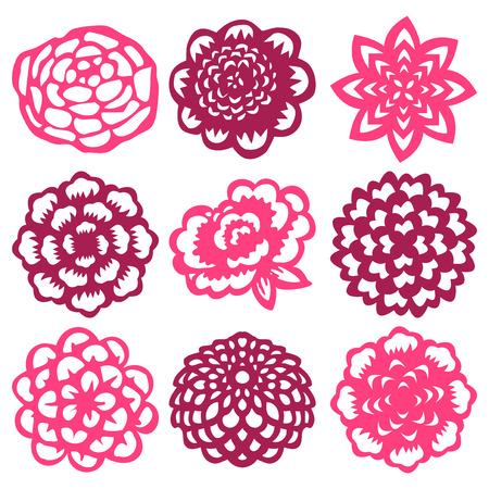 paper cut out: A vector illustration set of nine different flower in paper cut out style. Illustration
