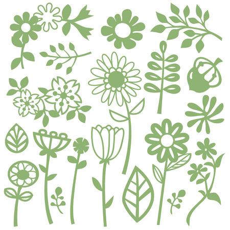 whimsical: A vector illustration set of whimsical flower and leaves. Illustration