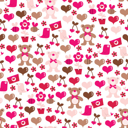 girly: A whimsical vector illustration of a valentines day theme seamless pattern background. Illustration