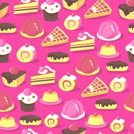 modifiable: A vector illustration of a sweet and delicious cakes and other desserts seamless pattern background. This pattern is easily tileable and color modifiable.