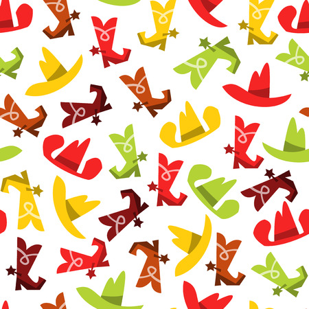 A whimsical vector illustration of cowboy hats and cowboy boots seamless pattern background. This pattern is easily tileable and color modifiable.