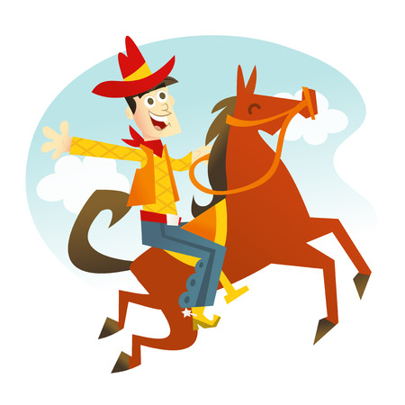 A cartoon vector illustration of a happy cowboy riding a jumping horse.