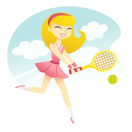 A vector illustration of a happy girl playing tennis. Illustration