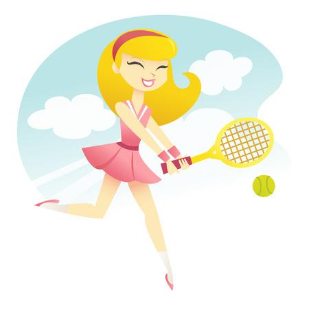 jugando tenis: Una ilustración vectorial de una niña feliz jugando al tenis. Vectores