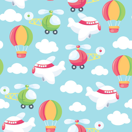 helicopter: A vector seamless pattern background illustration of cute and whimsical sky scene complete with aeroplanes, helicopters and hot air balloons. This pattern is easily tileable and color modifiable. Illustration