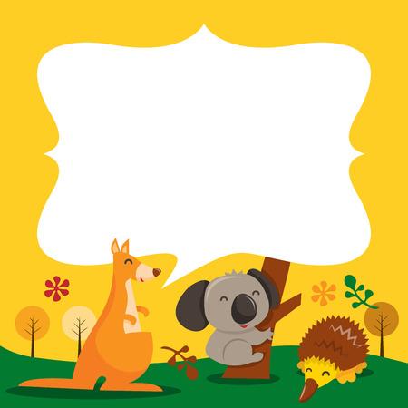 australian animals: A cartoon vector illustration of australian animals with a blank speech bubble or copy space. Illustration