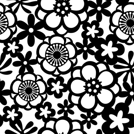 A vector illustration of flowers lace seamless pattern background.
