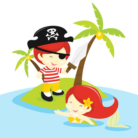 A cartoon vector illustration of a pirate boy and pretty mermaid in an island setting. Illustration