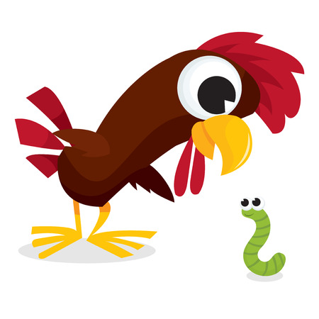 looking down: A cartoon vector illustration of a chickenrooster looking down at a little green worm.