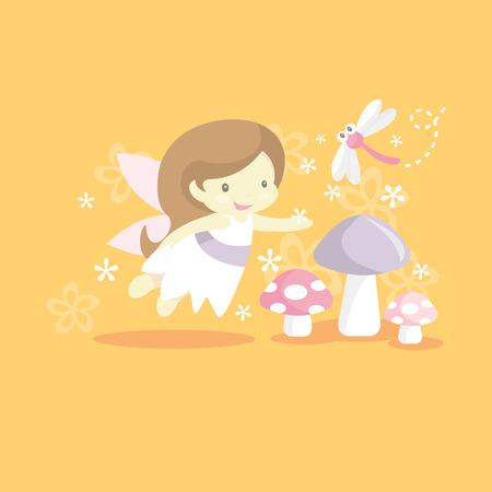 A vector illustration of whimsical garden fairy princess.