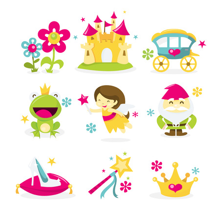A vector illustration of whimsical fairy tale princess theme icon set. Included in this set:- flowers, castle, horse carriage, frog prince, fairy, princess, gnome, dwarf, glass slipper, magic wand, crown.