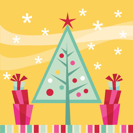 A vector illustration of modern whimsical christmas tree with gifts. Vector