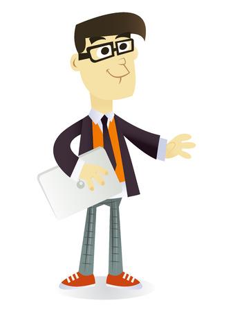 indie: Una ilustraci�n vectorial de dibujos animados de un joven t�pico de moda feliz inconformista celebraci�n de una computadora port�til en una mano.