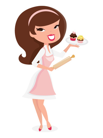 A cartoon vector illustration of a cute retro pin up girl baking cupcake, holding roller pin in one hand while presenting a tray of cupcakes. Illustration